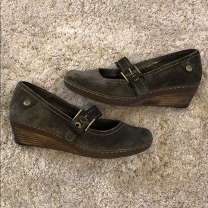 Clarks Suede Mary Jane Wedges